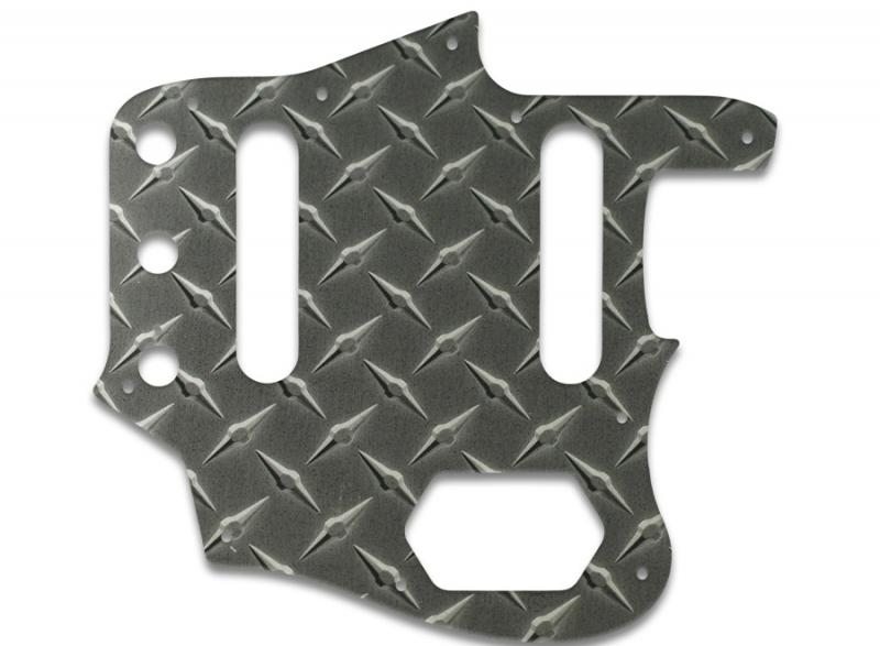 FENDER JAGUAR PICKGUARD FAUX BLACK DIAMOND PLATE
