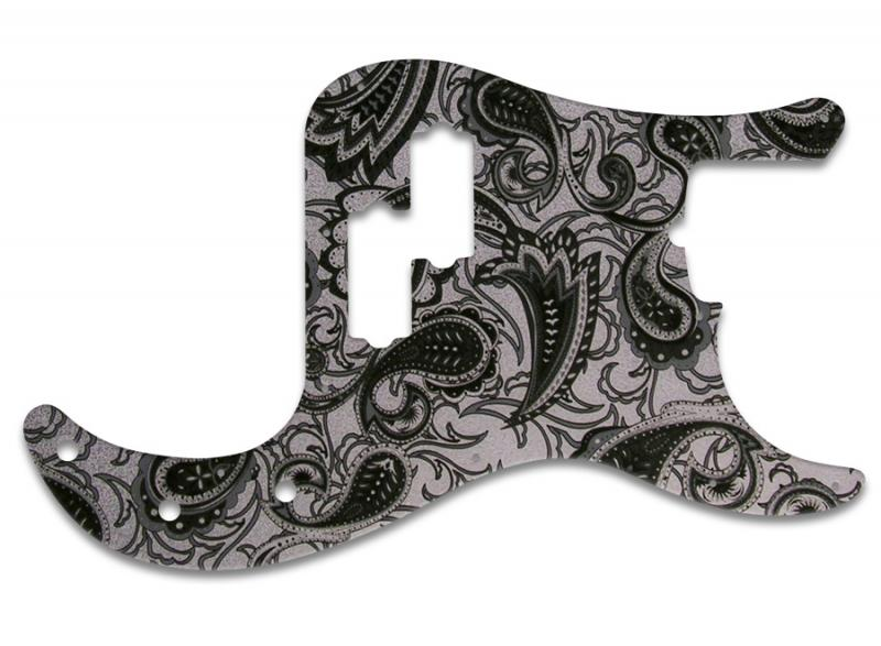 FENDER PRECISION BASS PICKGUARD BLACK SILVER PAISLEY